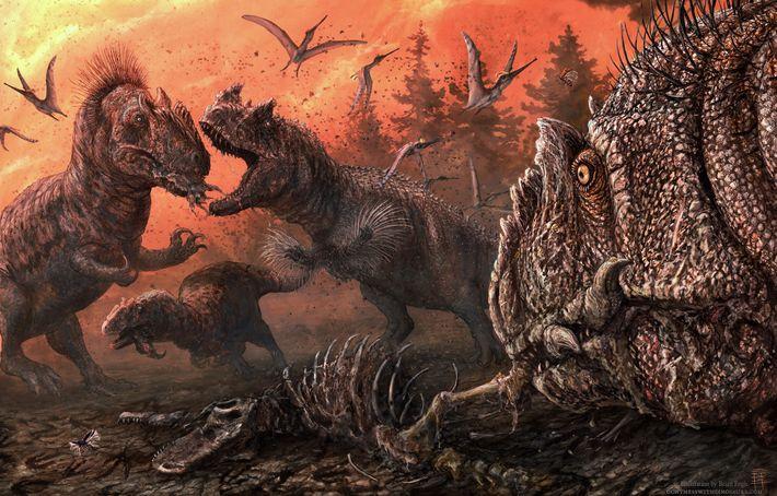 Nesta ilustração, um alossauro luta pelos restos mortais de outros dinossauros.