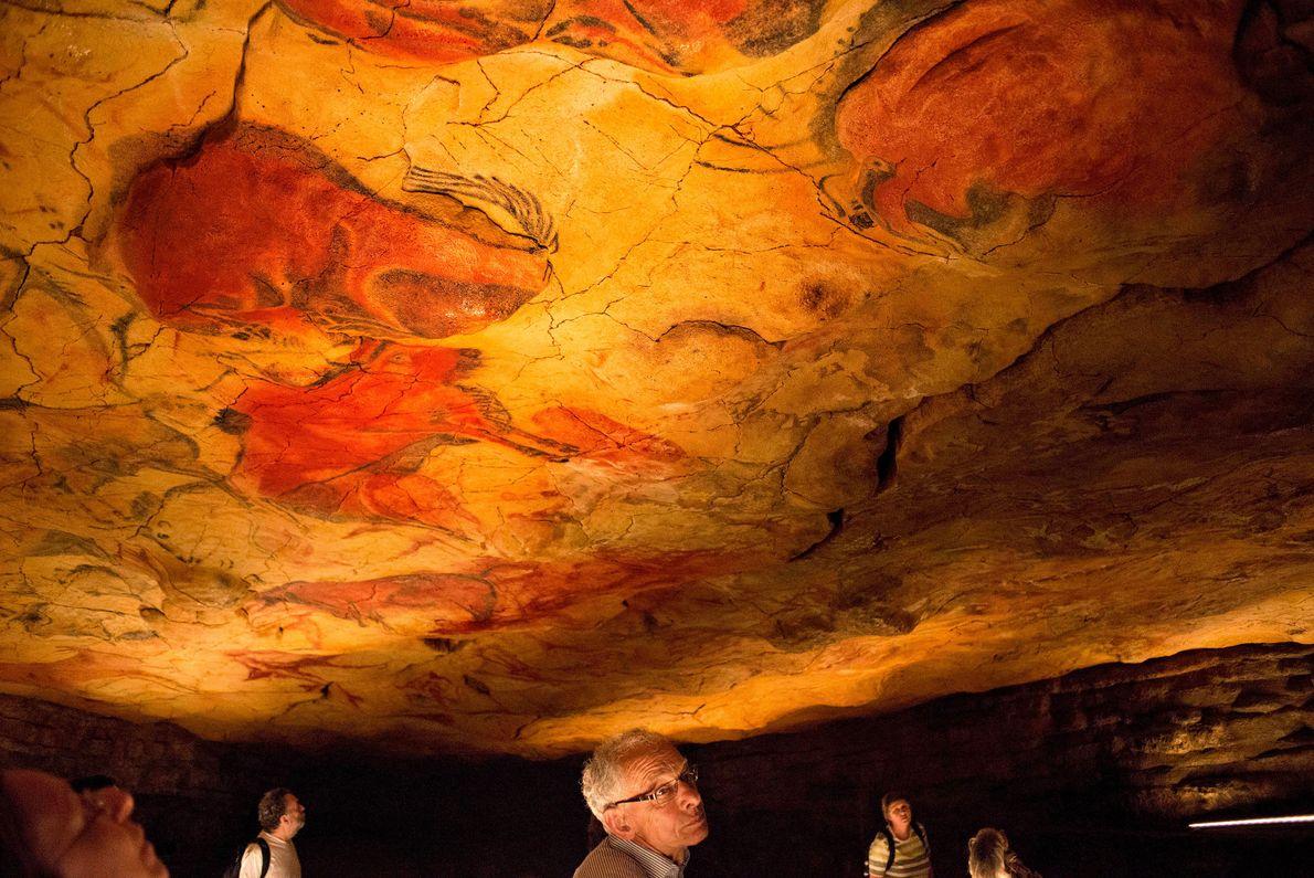 Os tons vibrantes de vermelho, que animam as paredes das Grutas de Altamira, foram usados, algumas ...