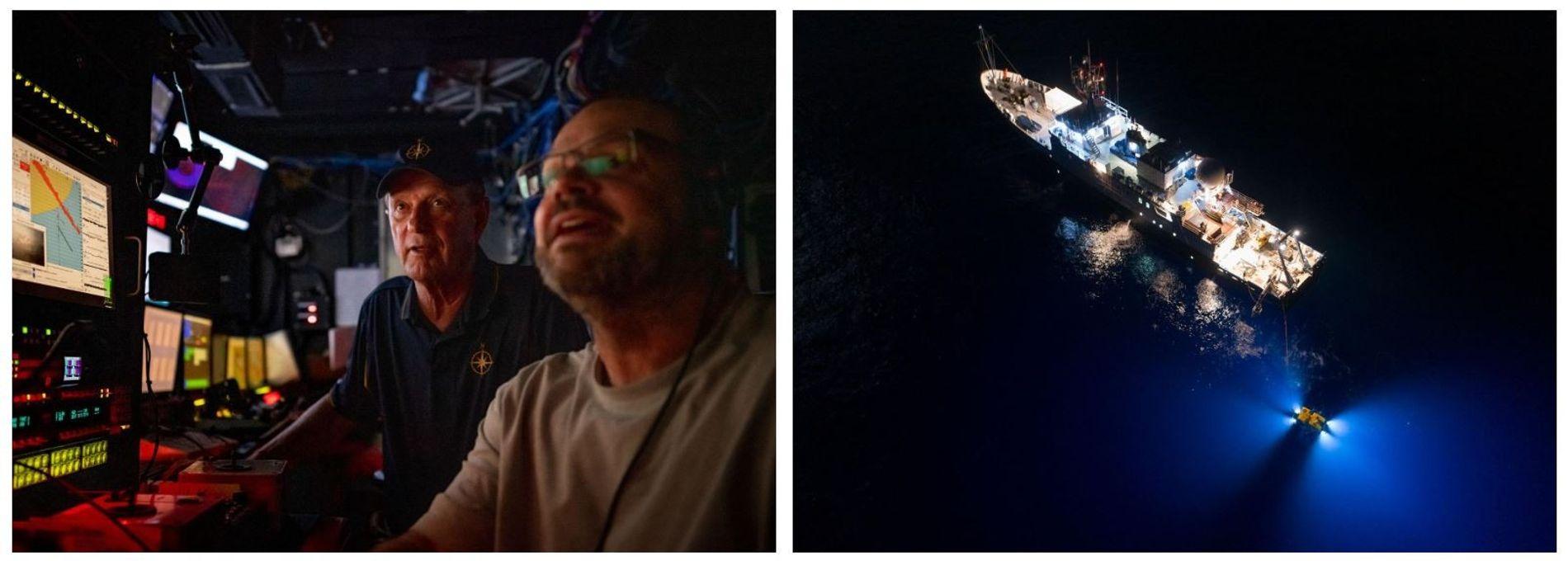Esquerda: Na sala de controlo do Nautilus, Robert Ballard e Jeff Dennerline monitorizam o trabalho de um veículo operado remotamente. Direita: Uma vista aérea do Nautilus com o pequeno ROV amarelo, Hercules, a bombordo.