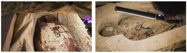 Esquerda: Gesso pintado decora o caixão de madeira de uma mulher chamada Tadihor. Os hieróglifos no ...