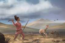 Esta ilustração mostra como seria caçar nas montanhas dos Andes, na América do Sul, há 9000 ...