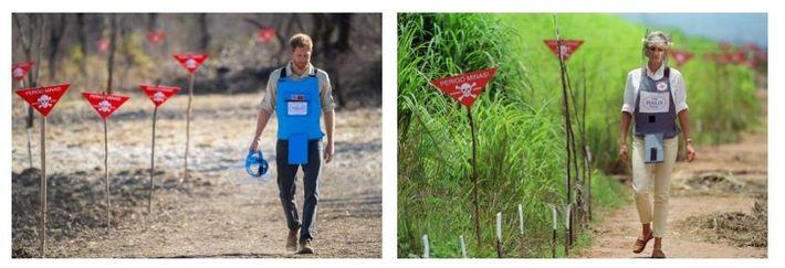 Esquerda: Em setembro, o príncipe Harry percorreu um campo que tinha sido desminado recentemente, em Dirico, ...