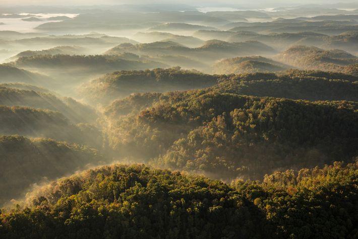 As montanhas Apalaches no sudeste dos Estados Unidos estão lentamente a encolher devido à erosão provocada ...