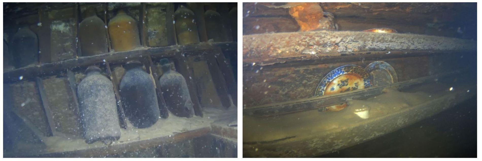 Esquerda: No refeitório dos oficiais, as garrafas de vidro permanecem intactas. O navio parece ter assentado suavemente no fundo do mar. Direita: As loiças ainda estão nas prateleiras, como se estivessem prontas para a refeição seguinte. Grande parte do interior do navio está coberto de lodo, que sela o oxigénio e ajuda a preservar os artefactos escondidos nos sedimentos.
