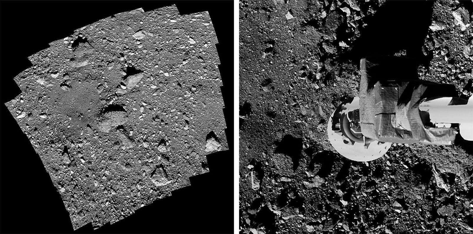 """Esquerda: O inóspito local das amostras, apelidado de """"Nightingale"""", inclui uma rocha de três andares de ..."""