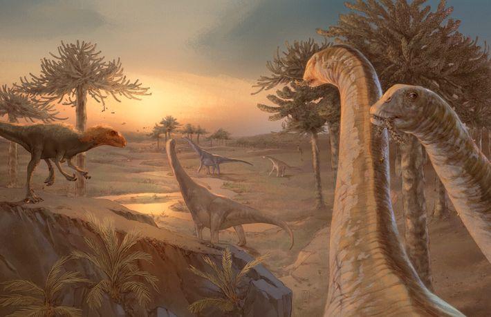 Reconstrução de Spinophorosaurus nigerensis no ambiente em que viveu durante o Jurássico Médio.