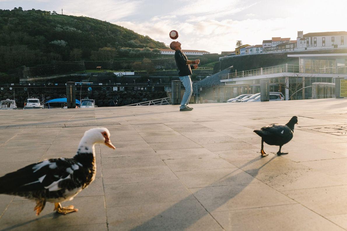 Dois patos passam por um homem que se diverte com uma bola de futebol, numa zona ...