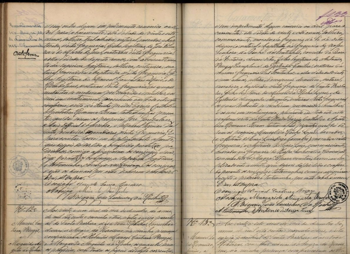 Começando na parte inferior da página da esquerda, este documento regista o casamento dos trisavós da ...