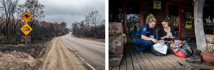 Esquerda: Sinais queimados que alertam para a travessia de cangurus e vombates estão perto de árvores ...