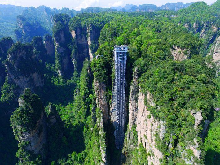 O elevador de Bailong.