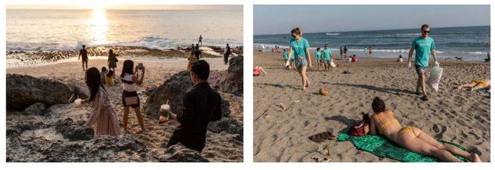 Esquerda: Os visitantes costumam levar comida para a praia de Tegal Wangi, para assistirem ao pôr ...