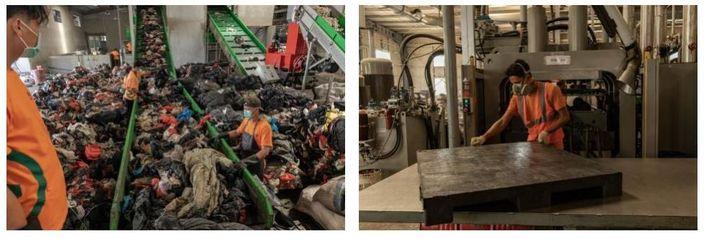 Esquerda: Trabalhadores colocam materiais de plástico no tapete rolante para serem lavados e triturados nas instalações ...