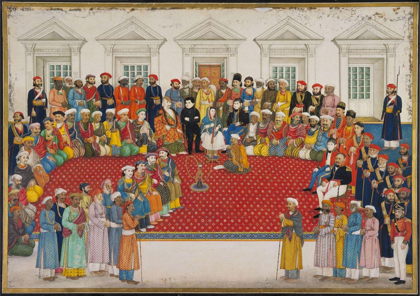 Esta pintura de Begum Samru e dos seus seguidores foi feita por volta de 1830. A ...
