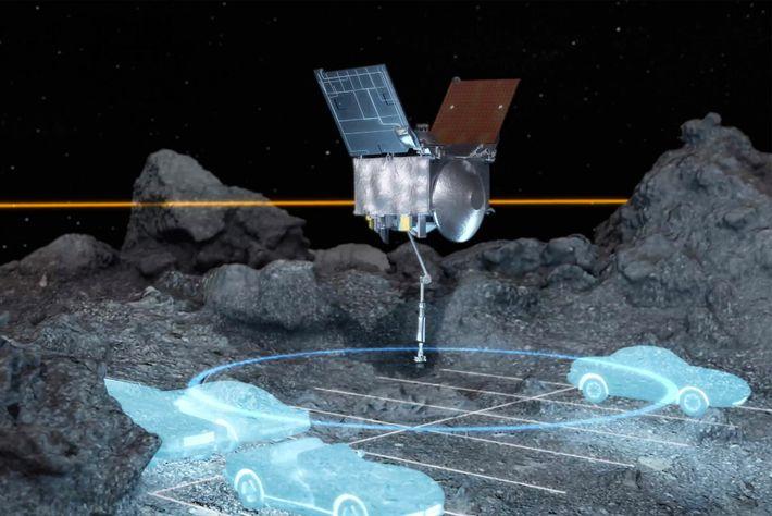 A sonda OSIRIS-REx navegou com sucesso através de uma área muito apertada, do tamanho de alguns ...