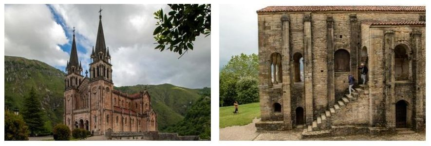 Esquerda: Construída com calcário extraído localmente, a Basílica de Santa Maria Real de Covadonga ergue-se perto ...