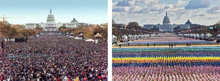 A cerimónia de posse em 2013 foi muito diferente da que aconteceu em 2021. Quase 200.000 ...