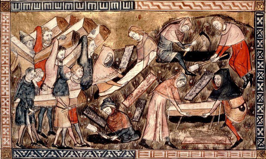 Nesta representação do surto na Europa de meados do século XIV, aldeões carregam os caixões das ...
