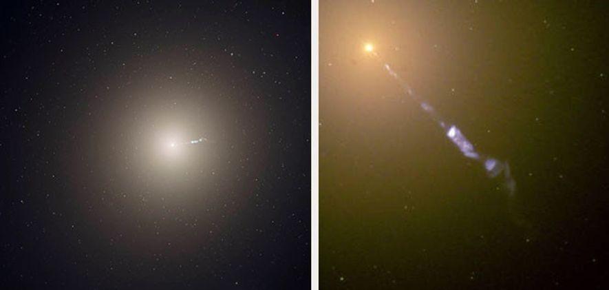 Esquerda: A galáxia elíptica M87, o membro dominante do aglomerado vizinho de galáxias de Virgem, é ...