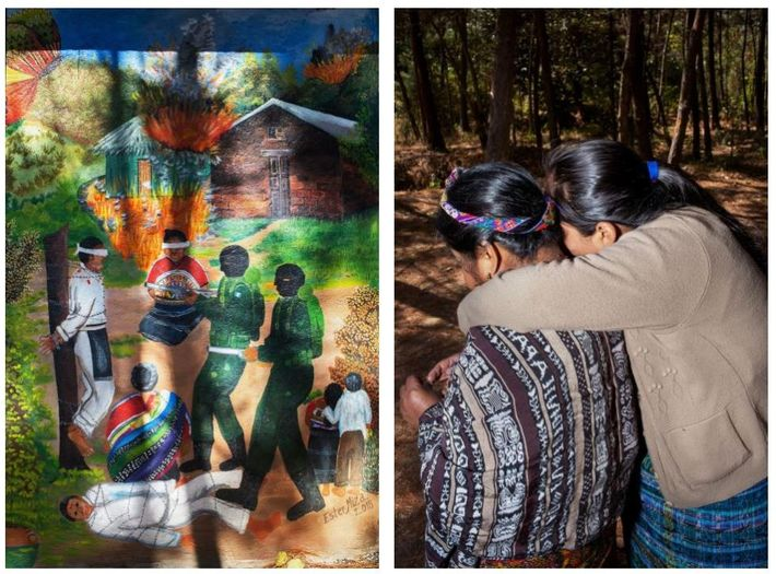 Esquerda: Há mais de uma década, Tuyuc comprou um terreno em Comalapa para construir um memorial ...
