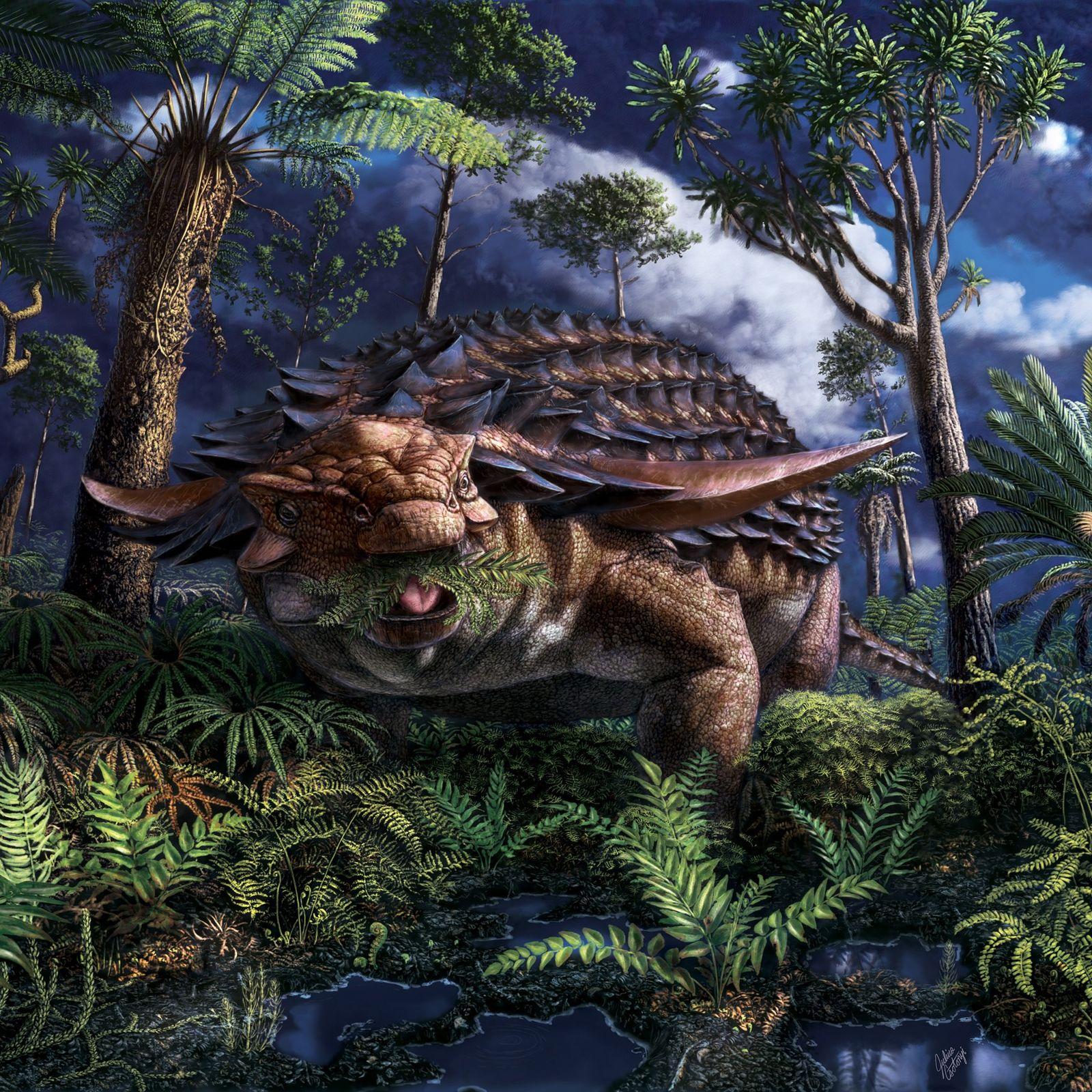 Há cerca de 110 milhões de anos, onde agora fica o noroeste de Alberta, no Canadá, ...