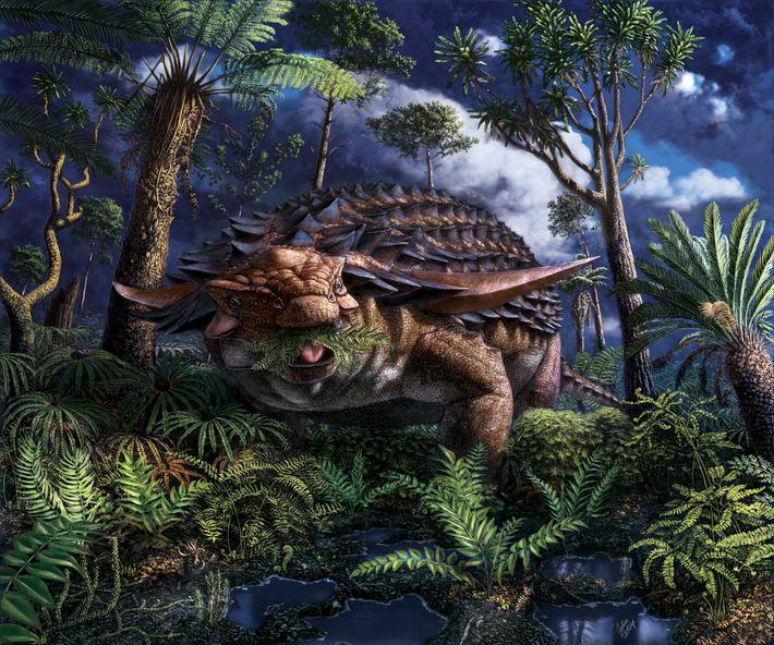 Há cerca de 110 milhões de anos, onde atualmente fica o noroeste de Alberta, o nodossauro ...