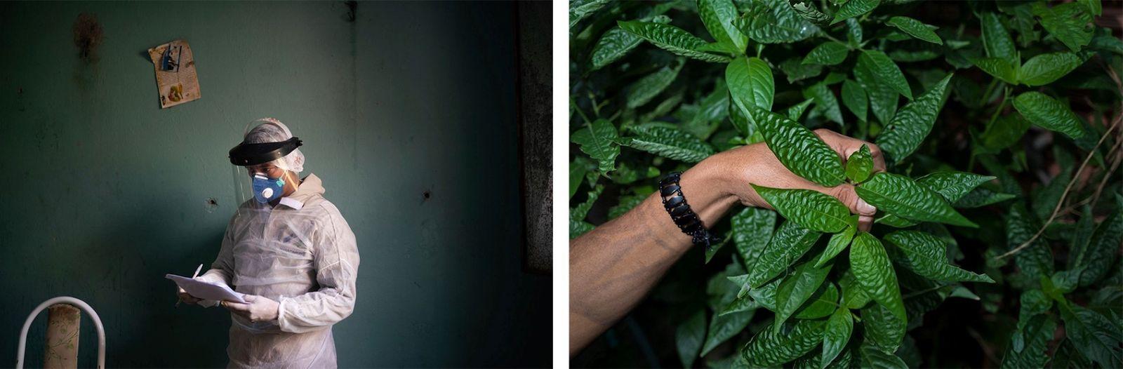 Esquerda: Um profissional de saúde do governo prepara-se para fazer um teste de COVID-19 em Manacapuru, ...