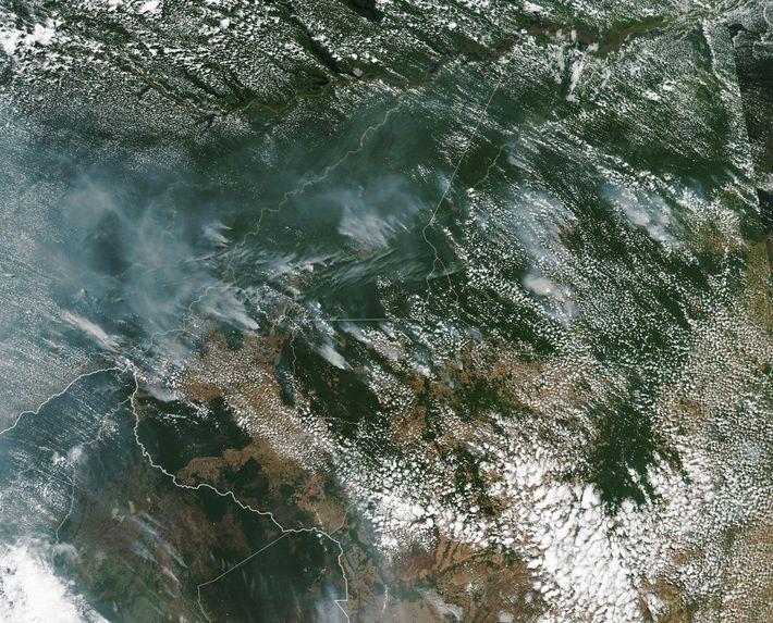 Fumo dos fogos na Amazónia captados por uma imagem de satélite da NASA.