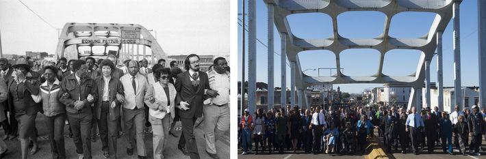 Esquerda: No dia 14 de fevereiro de 1982, John Lewis (o quarto a partir da direita) ...