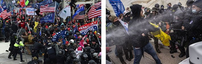 Esquerda: Apoiantes de Trump subjugam as forças de segurança e derrubam barricadas no exterior do edifício ...