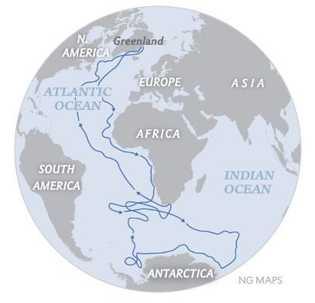 Rota de migração da andorinha-do-ártico. Sterna paradisaea Algumas andorinhas-do-ártico migram entre ambos os polos para se reproduzirem e ...