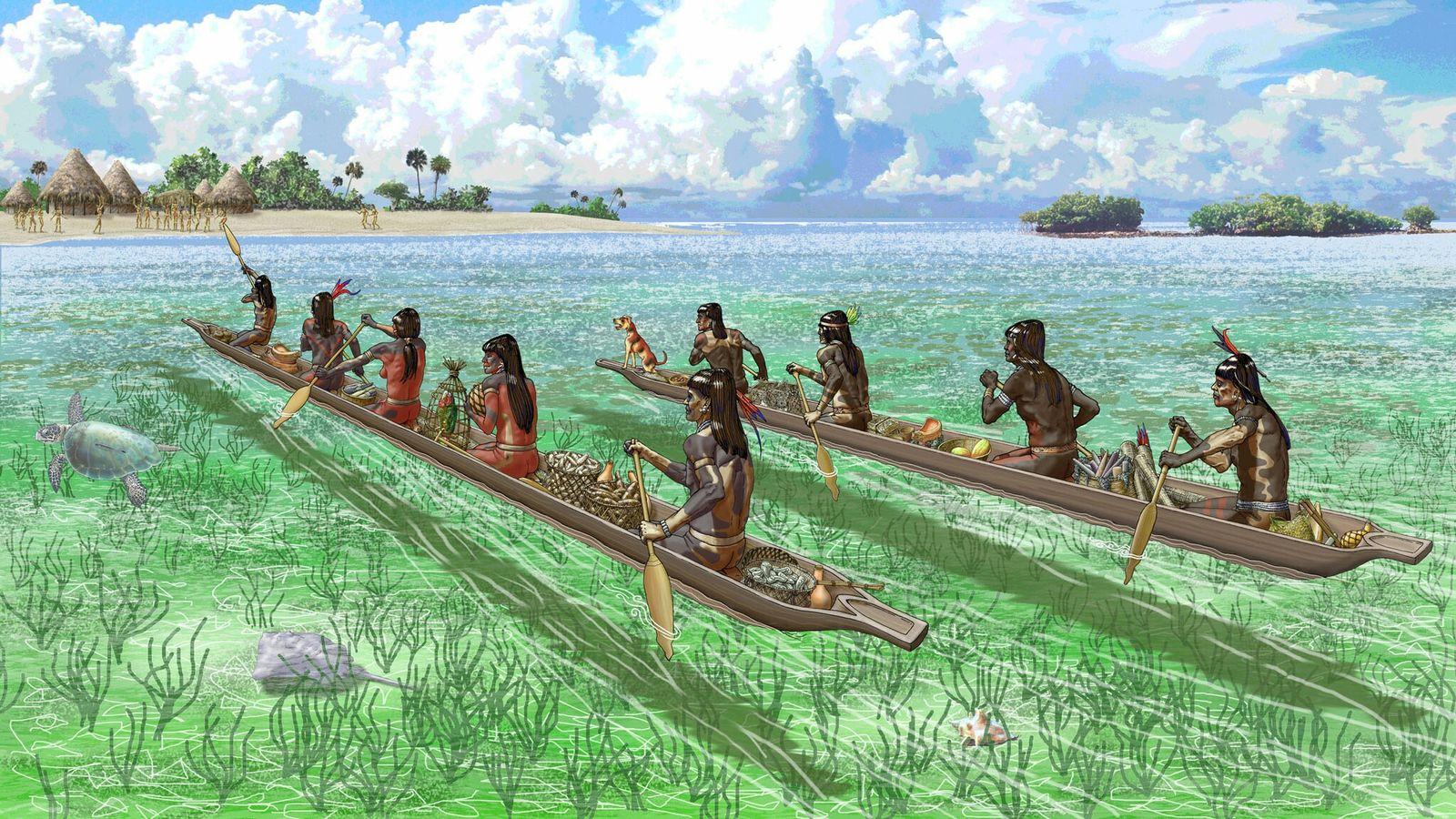 Comerciantes caribenhos aproximam-se de uma ilha nas Bahamas, parte de uma antiga rede de trocas que ...