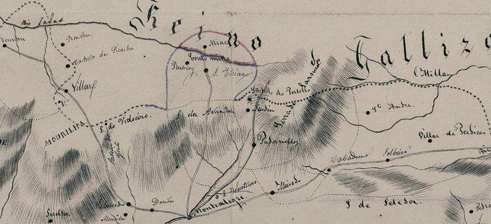 Detalhe da carta topográfica do Julgado de Montalegre, 1836. Por Fidencio Bourman (Couto Misto).