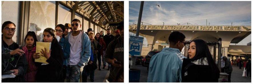 Lluvia Rodriguez e Juan Jesús Rojas alinham-se para mostrar a identificação às autoridades aduaneiras na fronteira ...