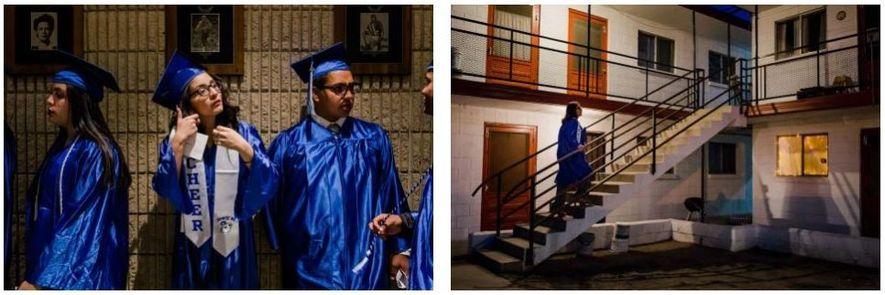 Na noite de formatura, Lluvia Rodriguez tira fotografias com a sua turma. Depois da formatura, regressa ...