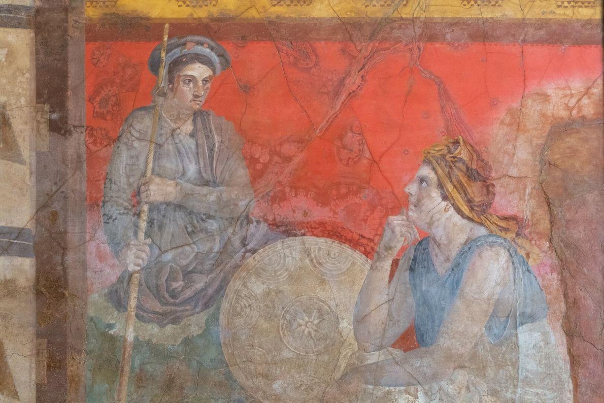 Mais um fresco da corte helenística encontrado na Villa Boscoreale, atualmente em exposição no Museu de ...