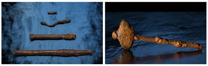 Os arqueólogos marinhos recuperaram pregos, fixadores e parafusos usados para proteger as vigas e tábuas da ...