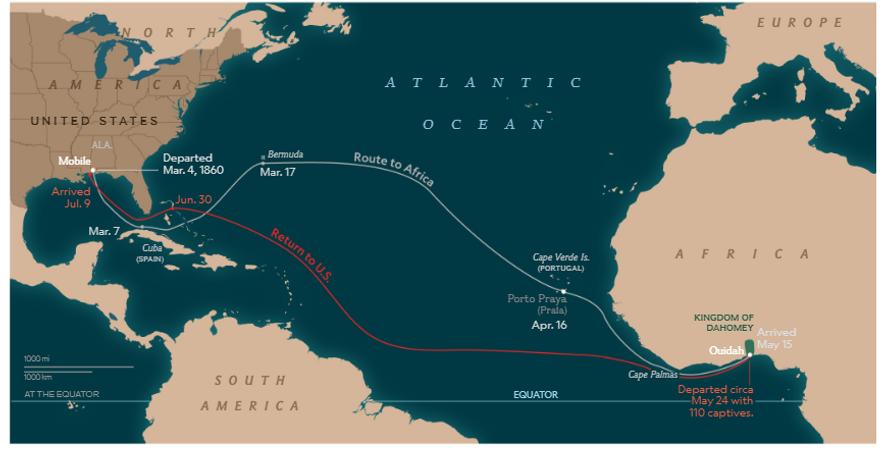 Em 1860, o Clotilda traficou prisioneiros da África Ocidental para os EUA. As rotas e datas ...