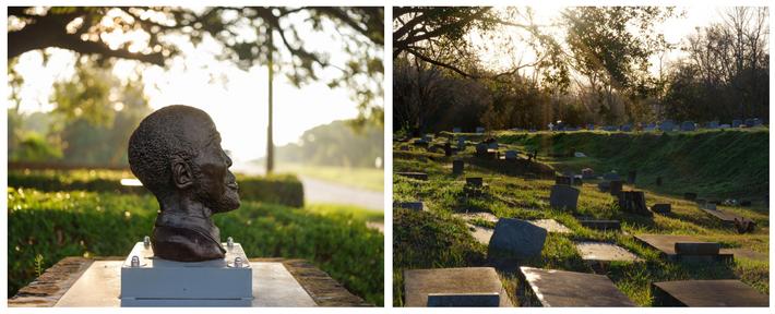 Esquerda: Um busto de Cudjo Lewis, um dos últimos sobreviventes do Clotilda a falecer, fica na ...