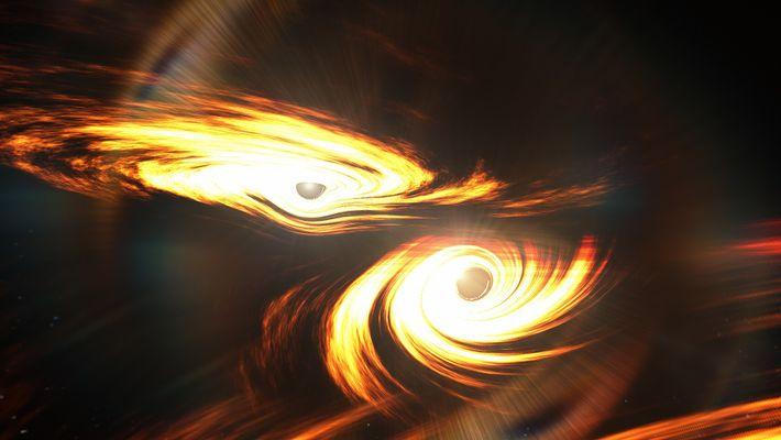 Representação artística de buracos negros binários prestes a colidir. Não se sabe se houve alguma emissão ...