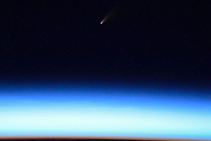 Ivan Vagner, cosmonauta da Roscosmos, publicou esta fotografia no Twitter, que foi captada a partir da ...