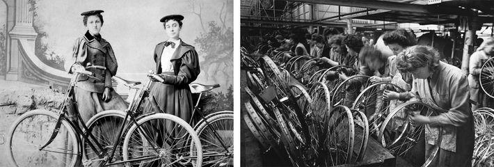 Esquerda: Na década de 1890, a bicicleta tornou-se no símbolo da Nova Mulher, que era independente, ...