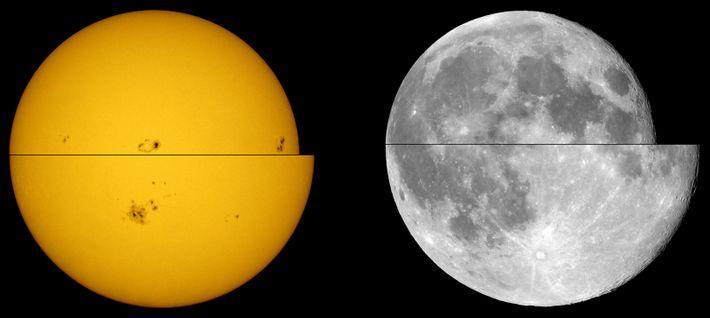 Comparação dos Tamanhos Aparentes do Sol e Lua