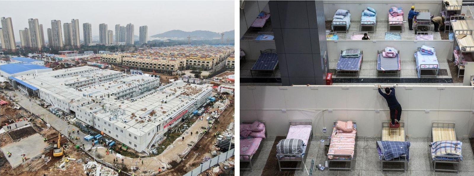 Esquerda: Esta fotografia aérea mostra o Hospital Huoshenshan, em Wuhan, um hospital construído em 10 dias ...