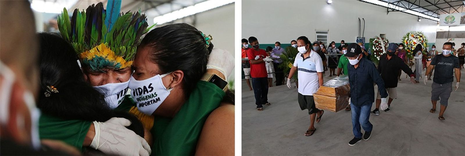 Esquerda: Num funeral realizado no Parque das Nações Indígenas, em Manaus, familiares choram a morte de ...
