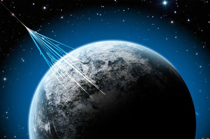 Uma representação de raios cósmicos.