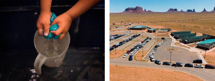 Um terço dos habitantes da Nação Navajo não tem água limpa ou canalização interior, o que ...