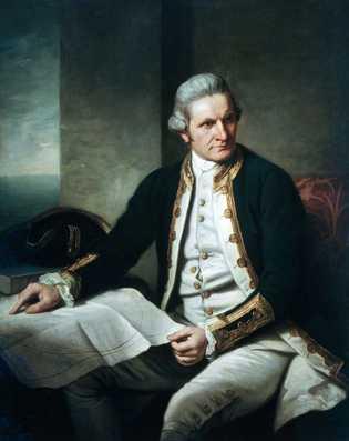O comandante James Cook, explorador da Marinha Real Britânica, procurou a Antártida durante três anos, mas ...