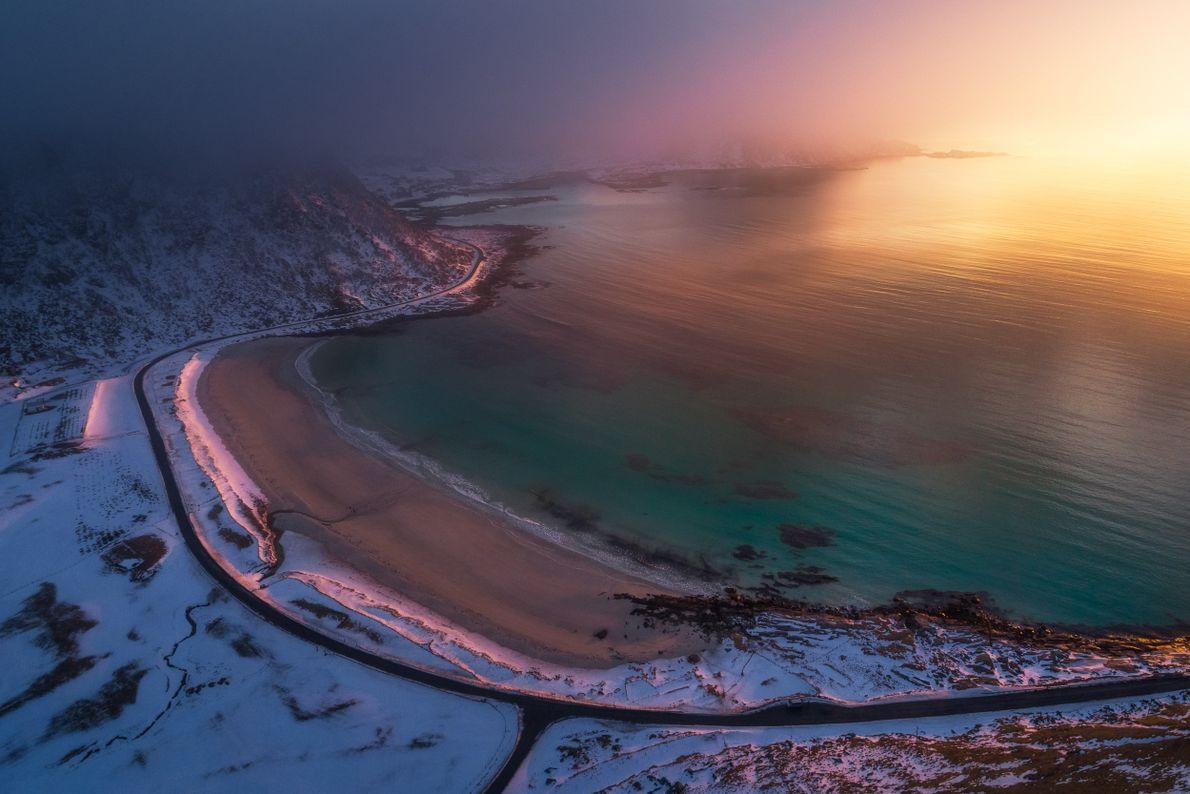 praia Vik, nas ilhas Lofoten