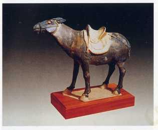 A figura de um burro da era da Dinastia Tang.