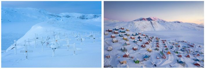 Esquerda: Um cemitério coberto de neve em Upernavik, na Gronelândia. Direita: As casas coloridas preenchem a paisagem ...